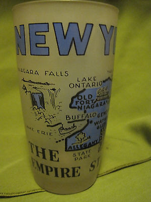 Frosted New York State Souvenir Glass Tumbler EMPIRE STATE-BLUE GRAPHICS