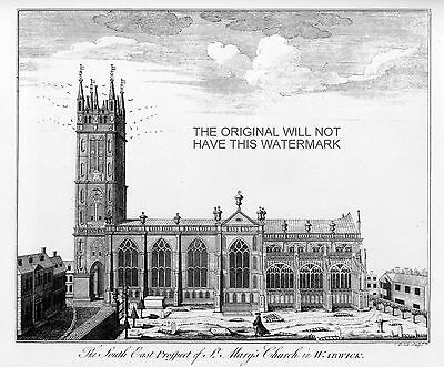 ST MARY'S CHURCH WARWICK c1850  ANTIQUE PRINT FROM ORIGINAL ENGRAVING MOUNTED