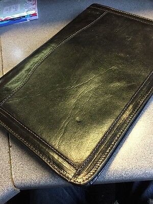 REAL LEATHER A4 Document Folio Case Cover Tablet File Wallet Sleeve Bag Black