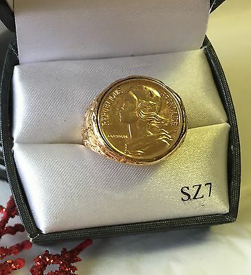 """Vintage 5 CENTIMES REPUBLIQUE FRANCAISE """"REAL COIN"""" RING-Size 7- NEW IN BOX"""