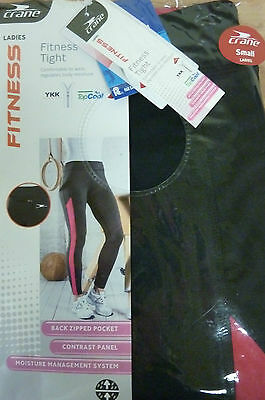 BNWT Crane Women's Black And Pink Fitness Running Trousers Size Small (S)