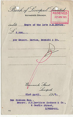 Bank Of Liverpool Receipt 1915 And Change Request Form 1880,s.