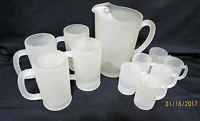 11 Piece Set of Tiara Indiana Glass Pitcher With 4 Mugs & 6 Minis All Frosted