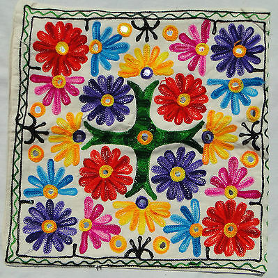 Handmade Ethnic Cushion Cover Floral Embroidery Art Hippy Boho Tapestry India Z3
