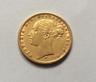 1876 Victoria Full Gold Sovereign Young Head