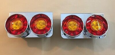 2x Stainless steel base LED tail 24V lights trailer chassis for DAF Scania MAN