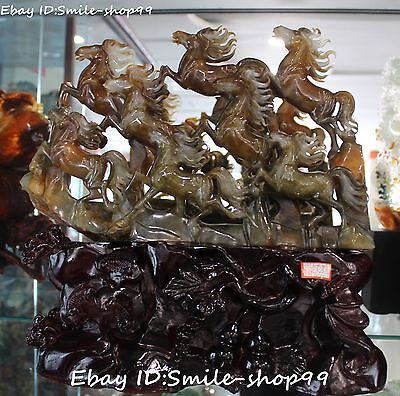 "16"" Unique Natural Jade Pure Hand Carving 8 Running Horse Horses Animal Statue"