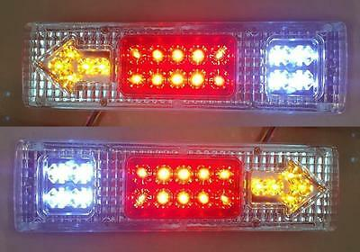 2x 12V LED Rear Tail Lights Lamps Truck Trailer Tipper Lorry Chassis Wagon Pair