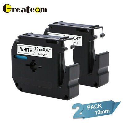 2pk Compatible for Brother P-touch M-k231 MK-231 Ribbon 12 mm Label Tape MK