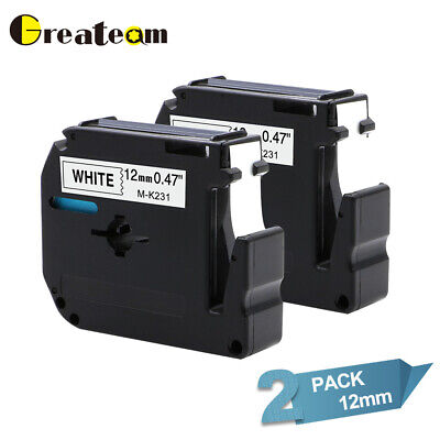 M-K231 MK-231 Compatible for Brother P-touch Ribbon 12 mm Label Tape 2PK