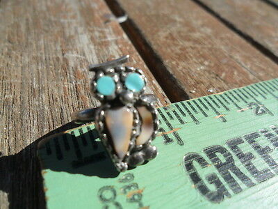 Vintage Nickel Silver Turquoise and Coral Owl Pinky Ring - Size 4 or 5