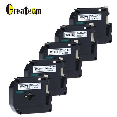 5pk Compatible for Brother P-touch M-K231 MK-231 Label Tape 12 mm MK Ribbon