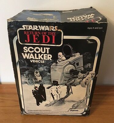 Vintage Star Wars Scout Walker Vehicle At-St Rare Palitoy Hoth Scene Box Only ��