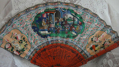 Antique Huge Chinese Mandarin Qing 100 Faces Lacquer Fan