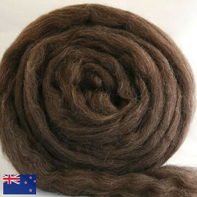300g of Natural Dark Brown CORRIEDALE combed fibre top / spinning wool roving