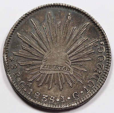 """Mexico 1838 Ga JG """"CAP AND RAYS"""" 8 Reales Silver Coin XF Toned Very Scarce Date"""