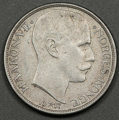 Norway 1917 1 Krone Silver Coin XF Extremely Fine KM #369 Scarce!