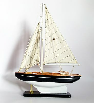 Wooden model open sail boat, dinghy, 25cm, nautical, *IMPERFECT*