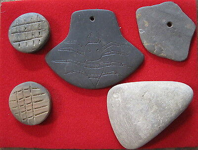 2 Slate Gorgets, Small Stone Ax, and 2 Incised Discs