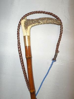 *Antique Ladies Hunt whip w/ Antler top, 15 Carat Gold Collar, Bamboo Cane*