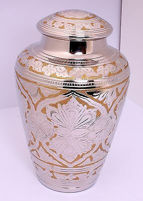 Cremation Urn for Ashes, Large Adult Funeral Memorial Urn, Gold Silver CLEARANCE