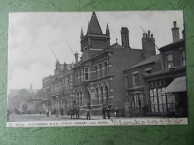 Vintage Postcard - Hull - Holderness Road , Public Library And Baths