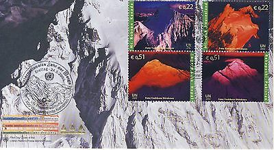 Illustrated UN FDC - Mountains - Pictorial PM - 2 blocks of 2 Stamps 2002