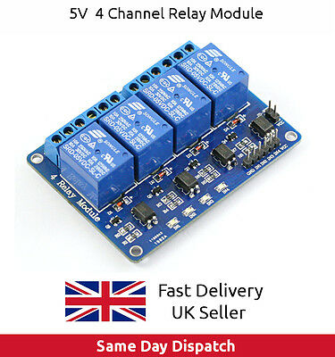 5V 4 Channel Relay Shield Module optocoupler For PIC AVR DSP ARM Arduino - UK