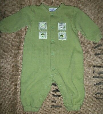 Baby Beginning Vintage light Green pastel Long Sleeve one piece romper size 6-9