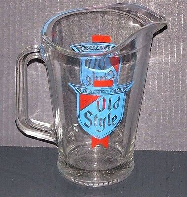 Vintage Pabst Brewing Company Heileman's Old Style Classic Beer Glass Pitcher
