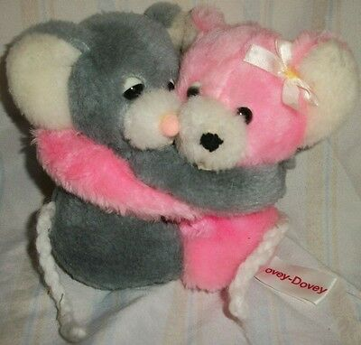 RUSS BERRIE Lovey Dovey Hugging Boy & Girl Mouse plush HTF pink gray Valentines
