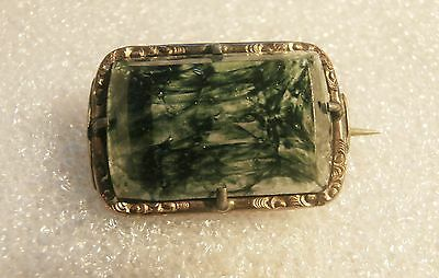 Antique Moss Agate Pin Brooch Stamped Gold Vermeil C-Clasp