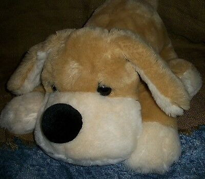 "FAO Schwarz Patrick the Pup Puppy dog Tan Cream 21"" long plush stuffed animal"