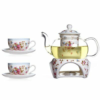 Heat-resistant Rose Ceramic Tea Set 11.8 oz Glass Filtering Tea Maker Teapot Set