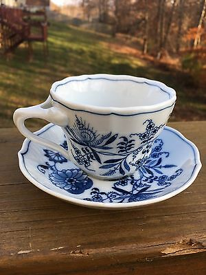 4 Blue Danube Onion Cup & Saucers Rectangle Mark