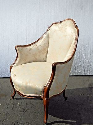 Antique Victorian French Provincial ACCENT CHAIR Carved Wood White Floral Design
