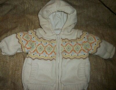 Marshall Field Baby white hooded lined sweater jacket coat size 3 months