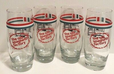 Old Spaghetti Factory 40th Anniversary Glass Trolley Italy Flag 2009 Set of 4