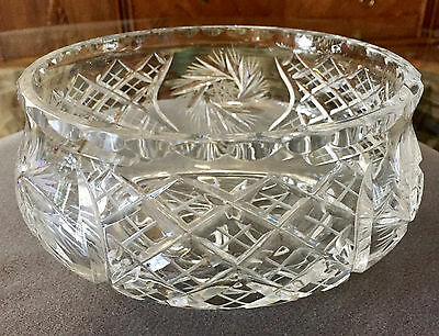 Lovely Vintage Heavy Hand Cut Crystal Center Bowl ~ Beautiful Refractions