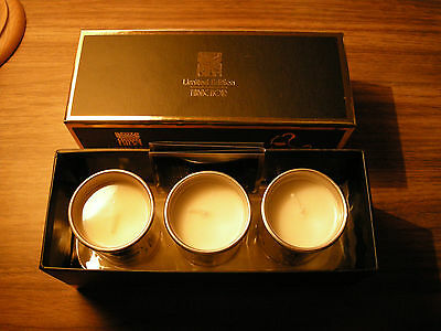 Boxed Set  3 Gold Mini Votive Candles Biba Gold Lily Of Valley Patchouli New