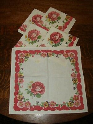 5 Vintage Shabby Chic Pansies Rose & Daisy Print Napkins