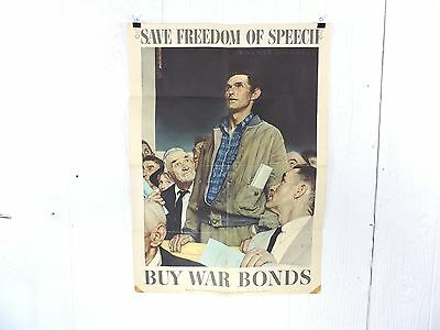 Original 1943 Wwii Norman Rockwell Freedom Of Speech Poster, 28 X 20 , War Bonds