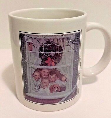 Norman Rockwell Mug Cup 1951 Family Trust Christmas Holiday Window Collectible