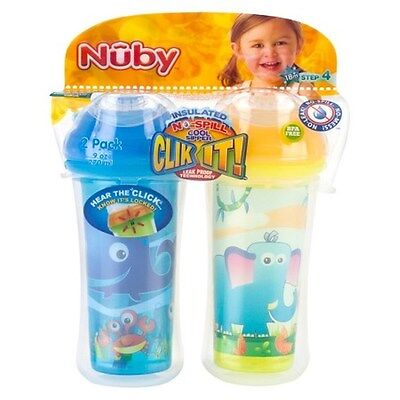 Nuby Toddler Sipeez No Spill 18+Month Insulated Whale-Elephant 2Pk
