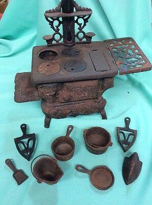 Crescent Salesman Sample Cast Iron Stove And Accessories Vintage