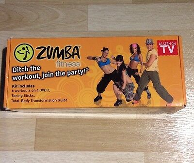 New Zumba Fitness Workout Exercise Set, 6 Workouts on 3 DVDs + 2 Toning Sticks