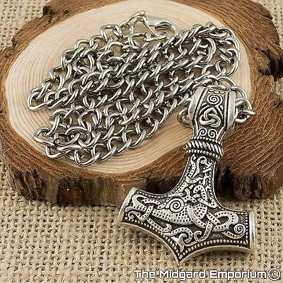 Viking Thor's Hammer Silver Mjolnir Pendant With Rhodium Grey Chain Necklace