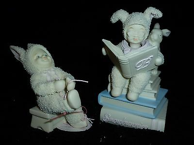 "NEW Lot 2 Dept 56 Snowbunnies CAN DO MYSELF Shoe ""B"" BUNNY Book Musical Figurine"