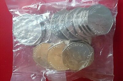 Sealed bag of Squirrel Nutkin 50p coins. Beatrix potter. Rare