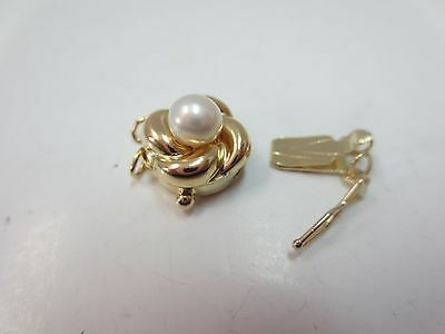 New 14k Solid Y. Gold Pearl Flower Clasp for Double Strand Bracelet Necklace